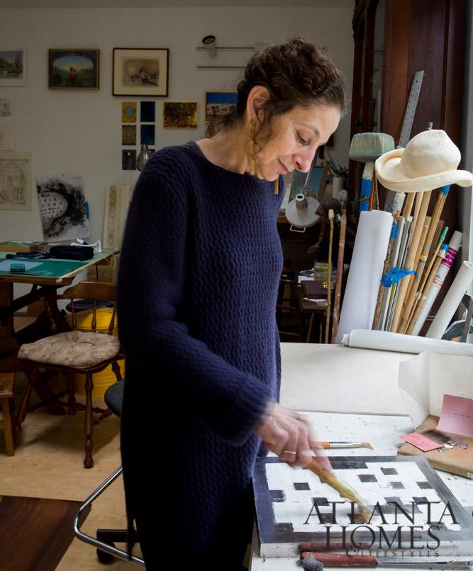 Jill Biskin at work in her studio