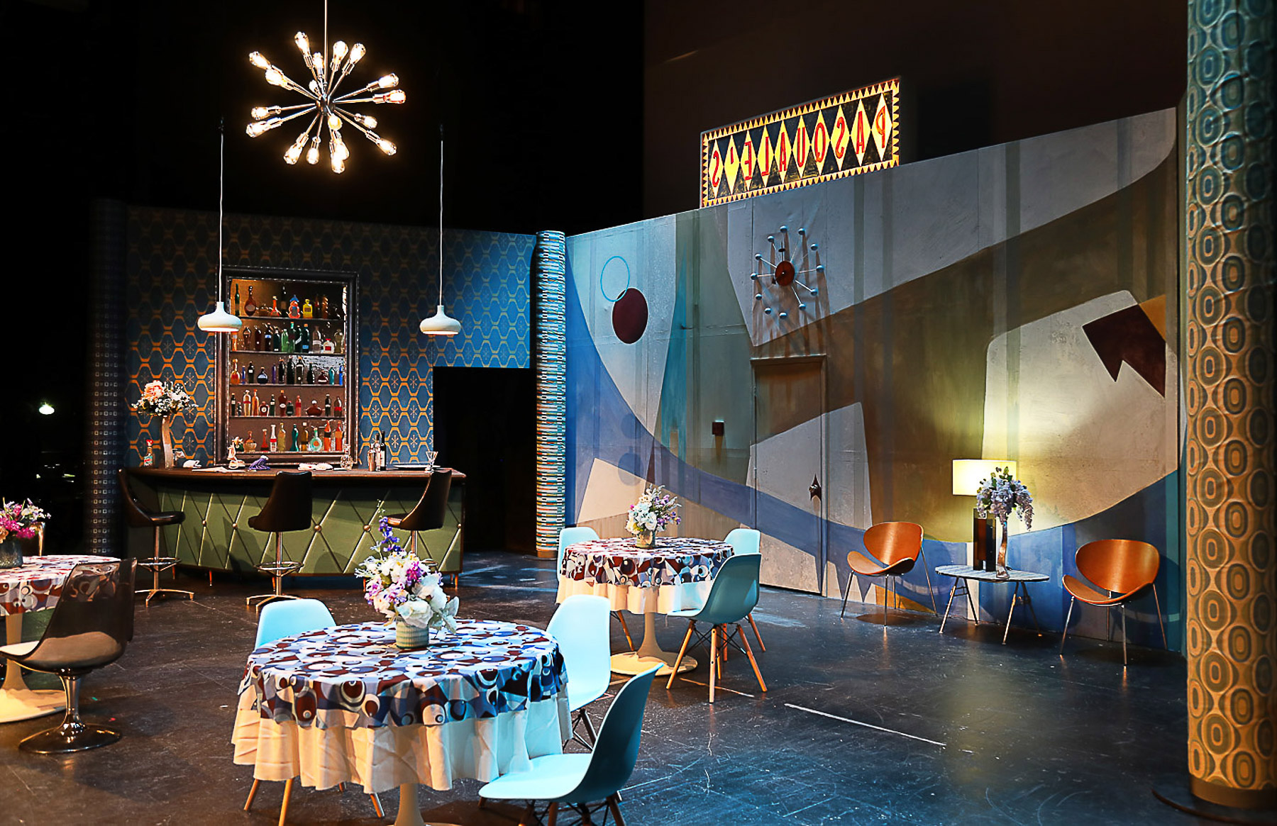 Don Pascuale stage set using mid-century modern motifs
