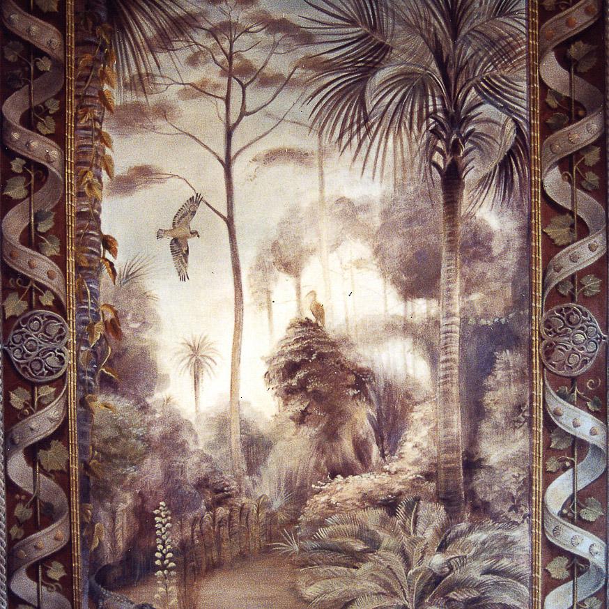 Mural by Jill Biskin of coastal plains painted in brown tones