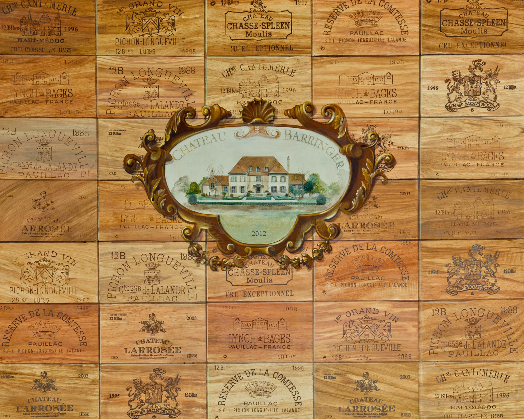 Mural incorporating wine lables and vignette of a historic chateau