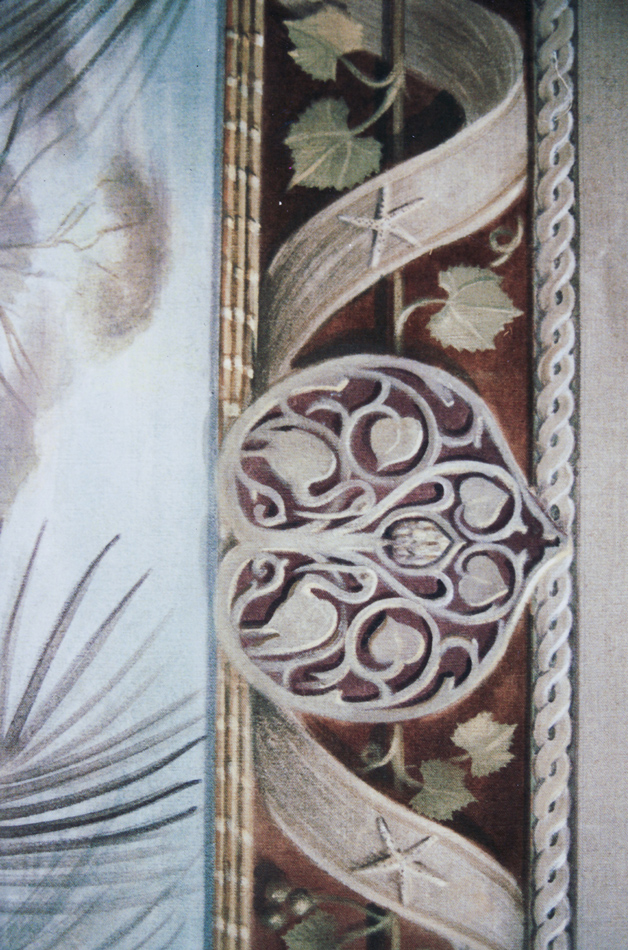 Decorative mural with ornate medallion detail