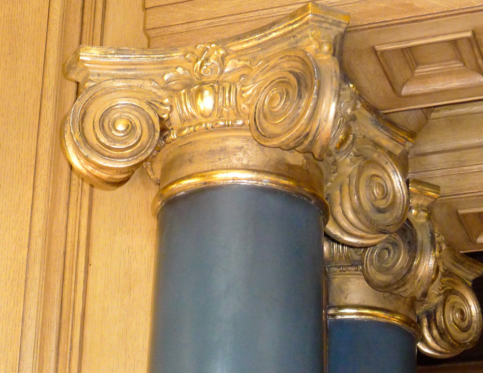 Gilded column capitals for interior design