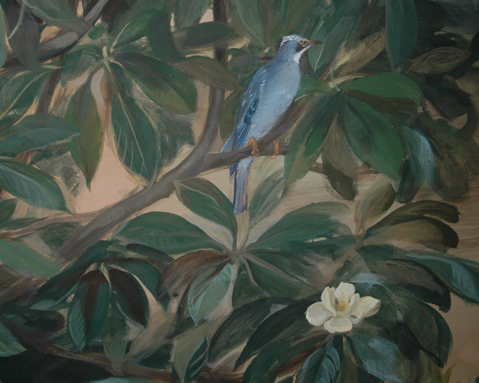 Garden mural with bird and magnolia flower detail