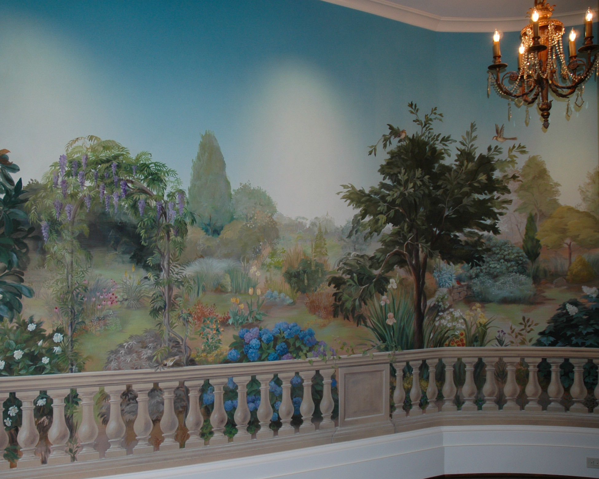 Garden mural painted on interior wall by Jill Biskin