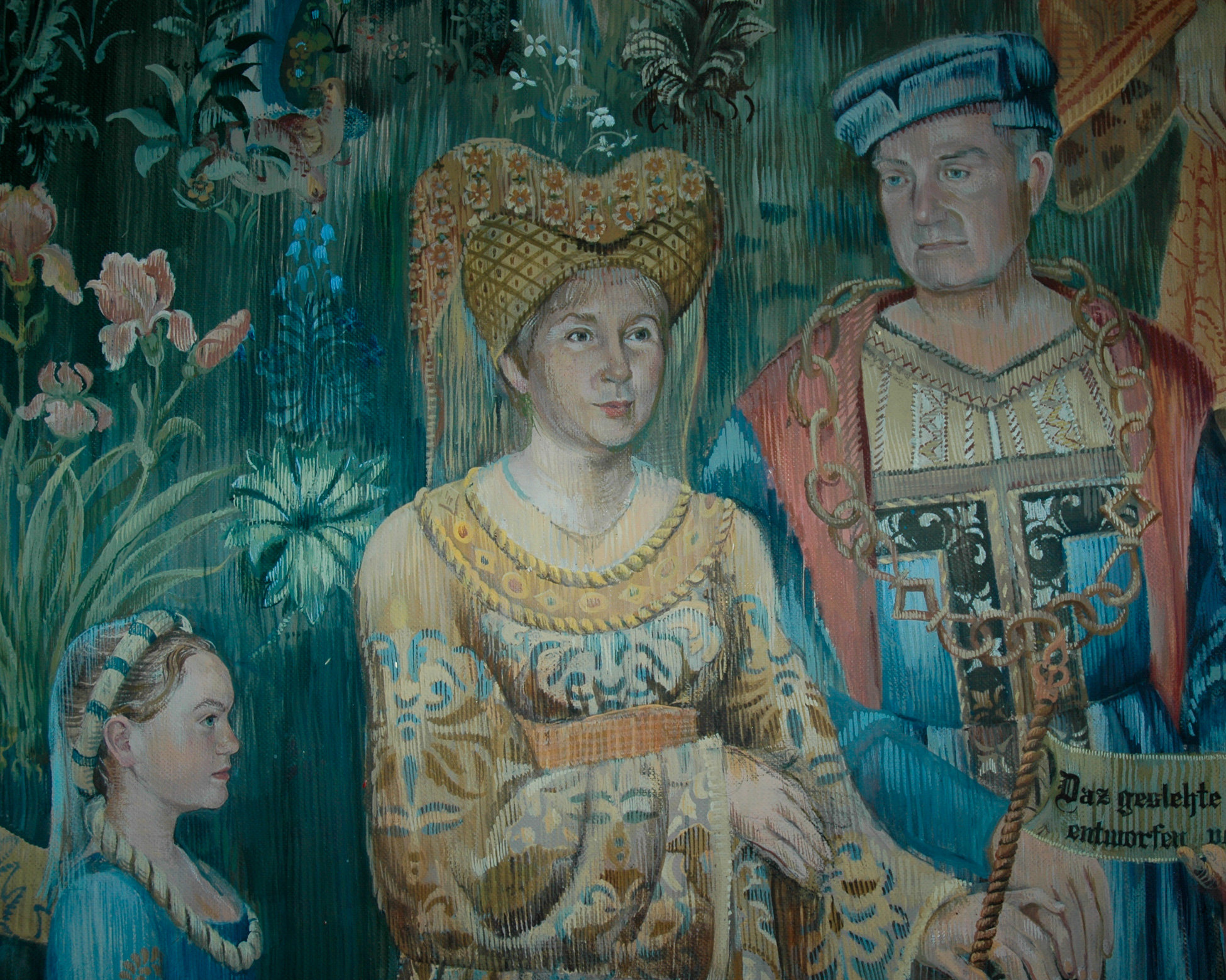 Tapestry mural with husband and wife in medieval costume