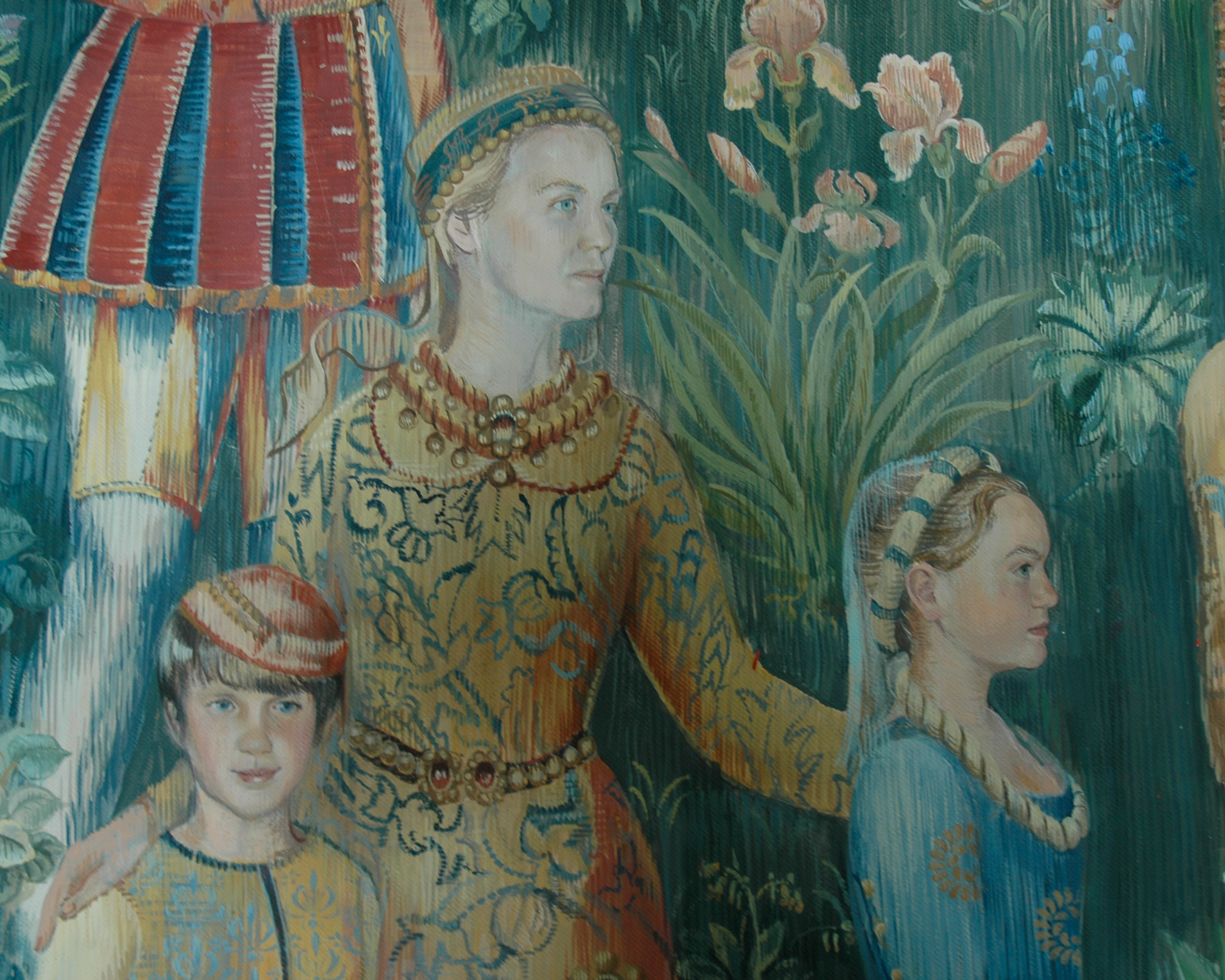 Tapestry mural with detail of mother and children in medieval costume