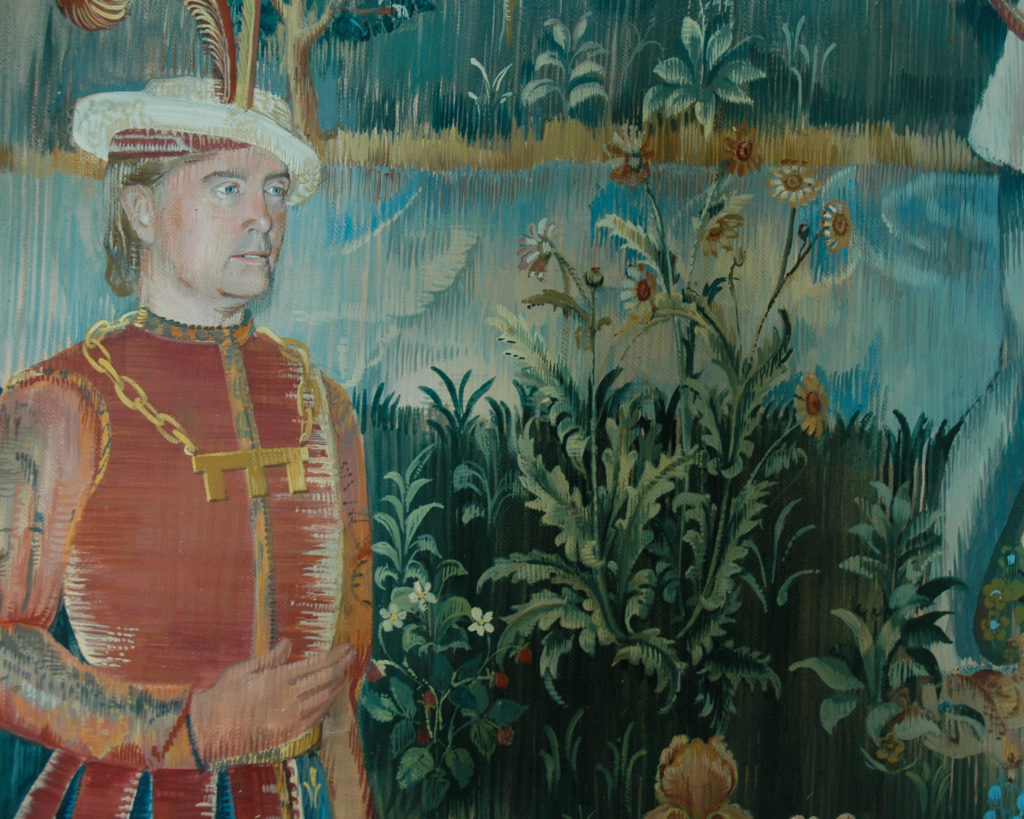 Tapestry mural with detail of flowers and man in medieval costume