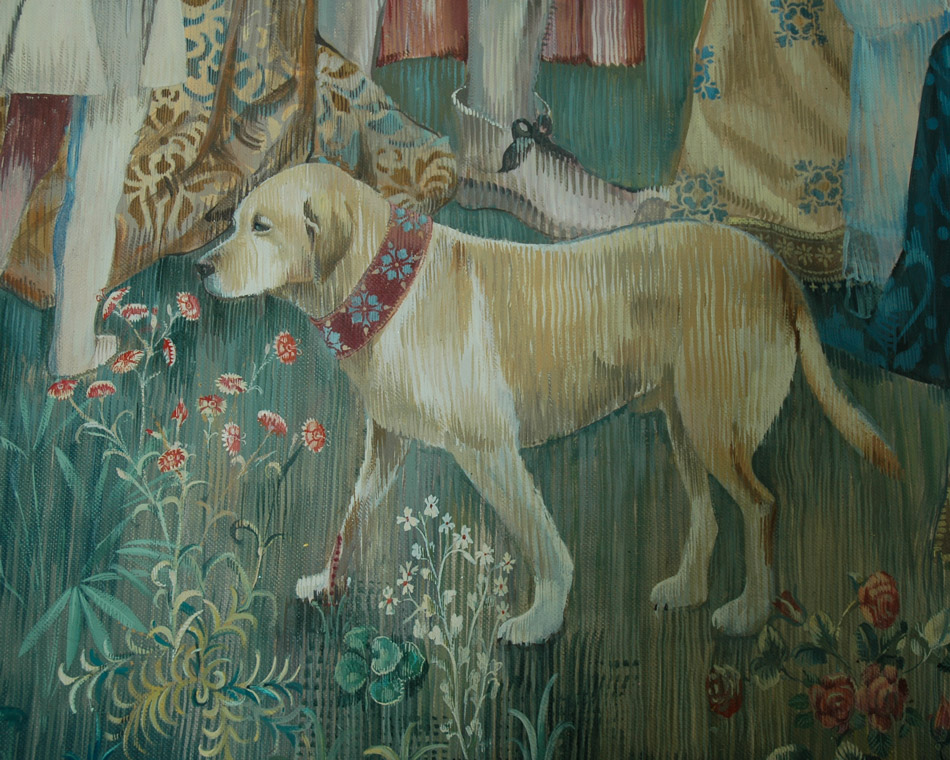 Tapestry mural with detail of dog portrait