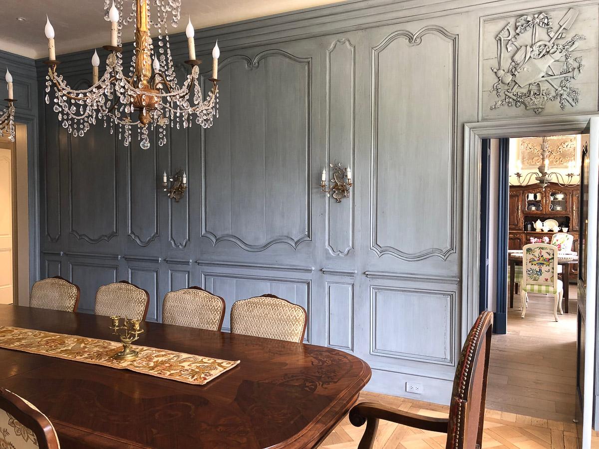 Custom wood panel finish for dining room