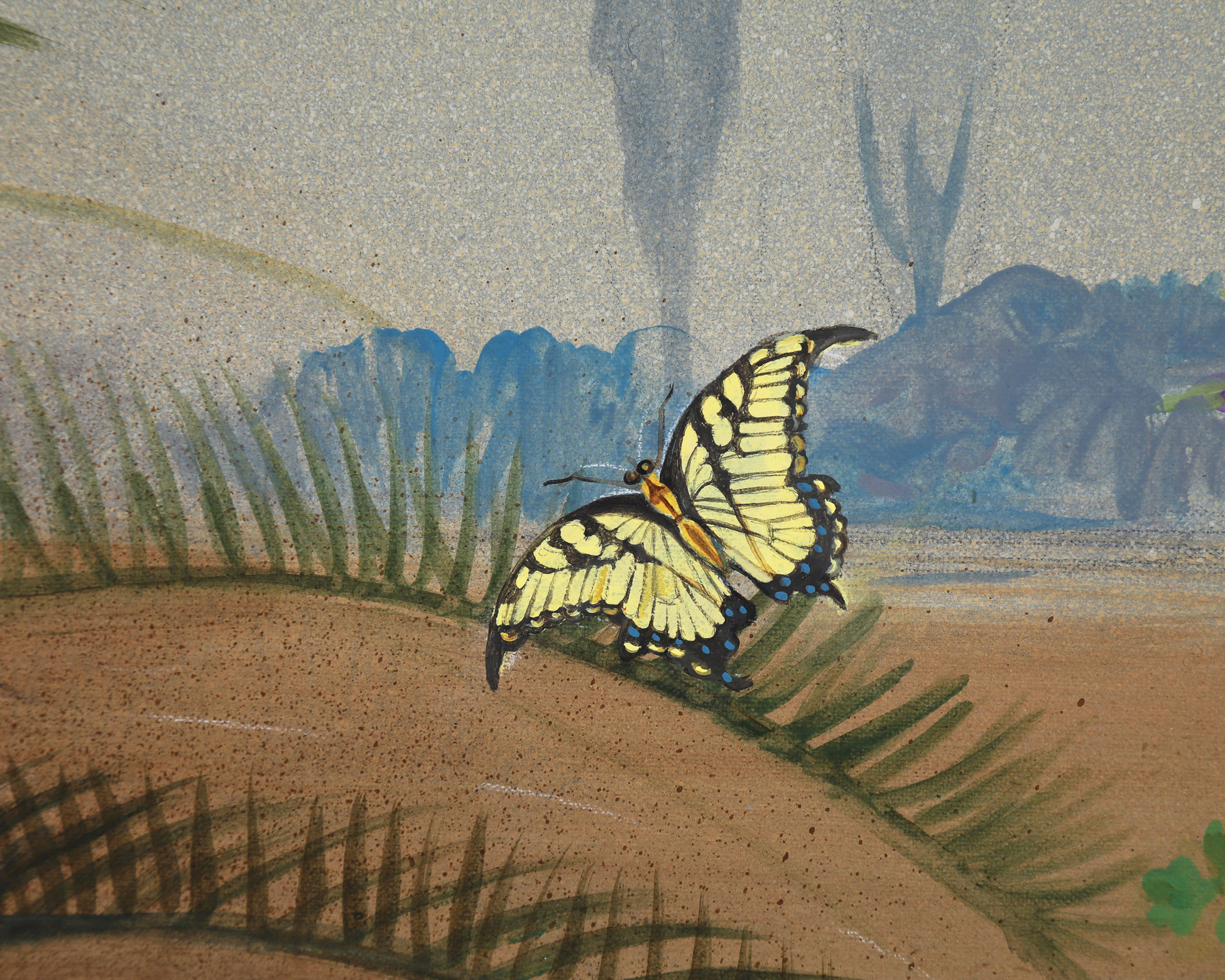Low country mural with detail of swallowtail butterfly