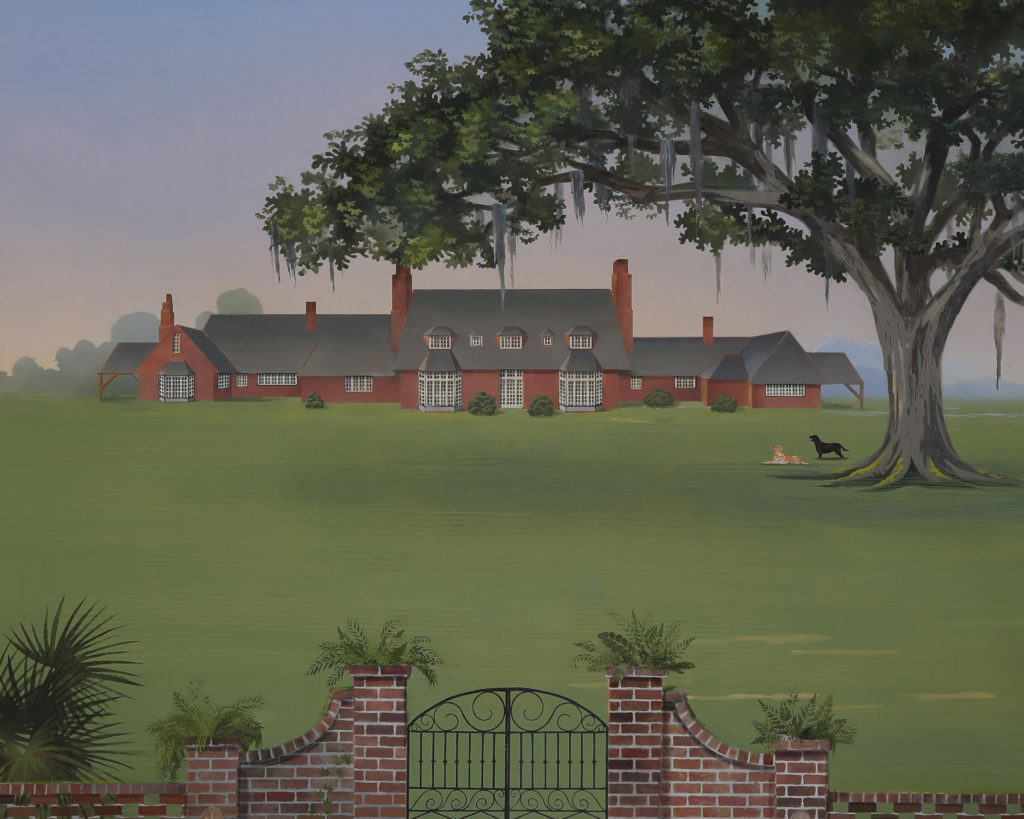 Low country mural illustrating typical manse with live oak tree in the landscape