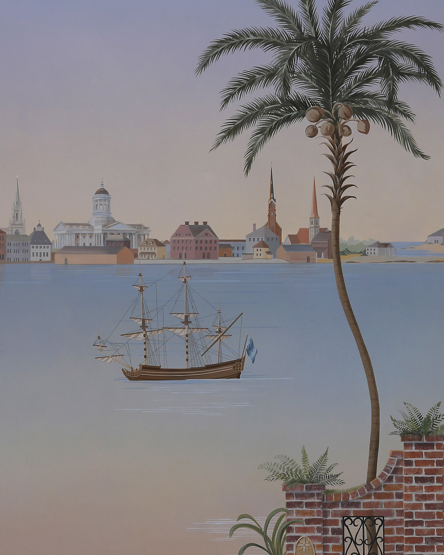 Low country mural with historic Savannah downtown and historic sailing ship