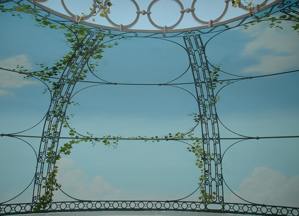 Garden dome mural of sky with wrought iron fence and ivy twining