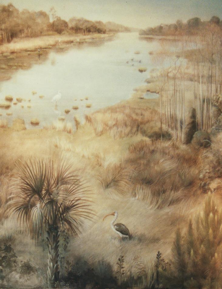 mural detail with pelican in marsh