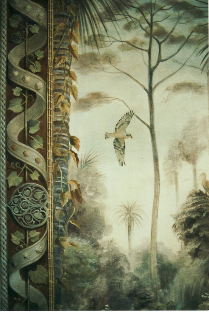 mural detail with bird flying