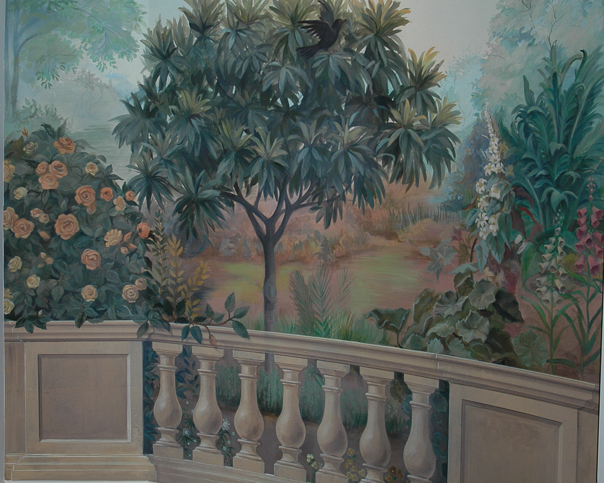 mural of tree with balustrade in foregroune