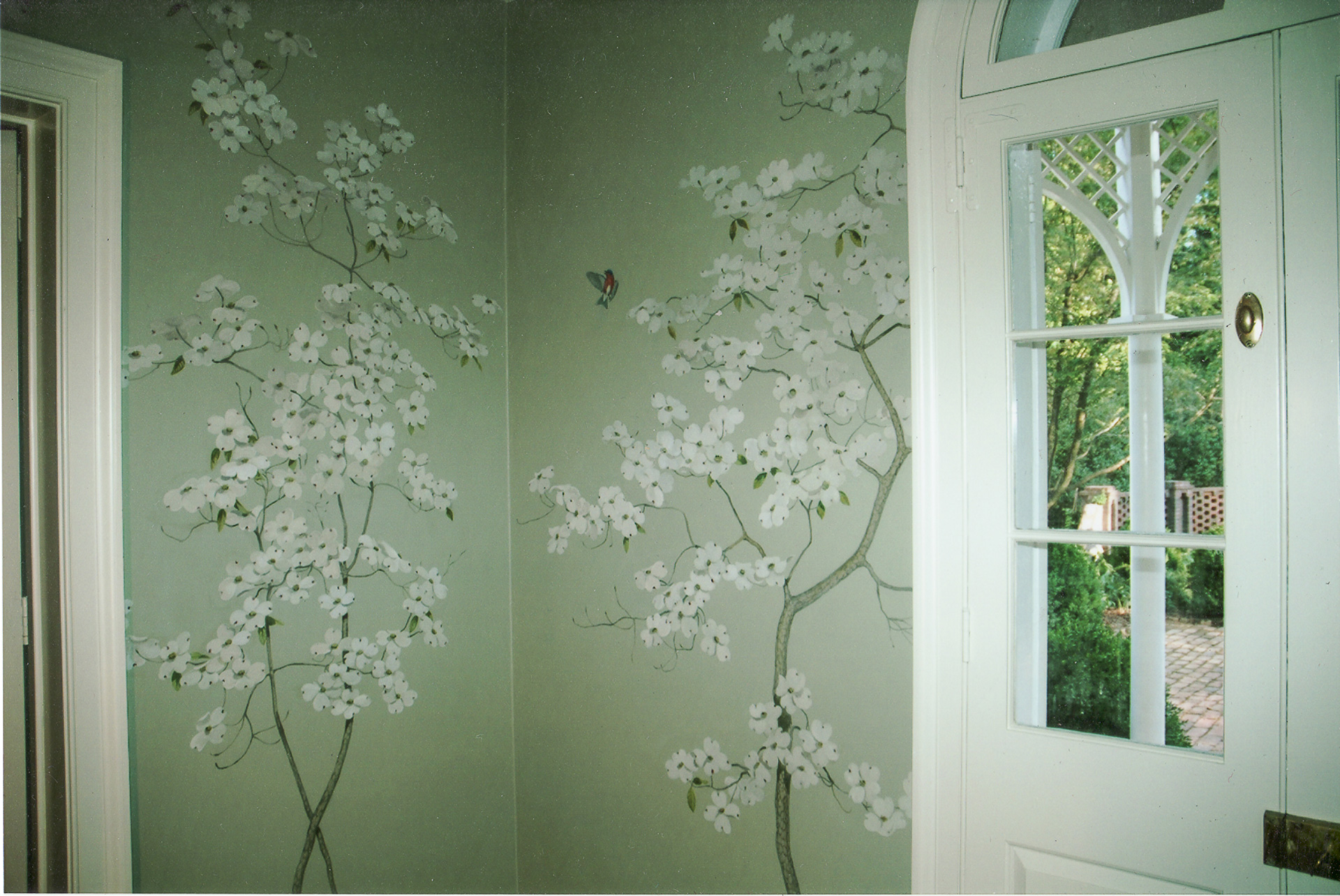 Restored wallpaper illustrating flowering dogwood and bird flying