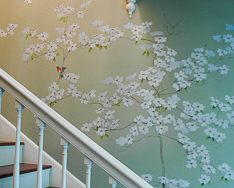 restored wallpaper of flowering dogwood and birds