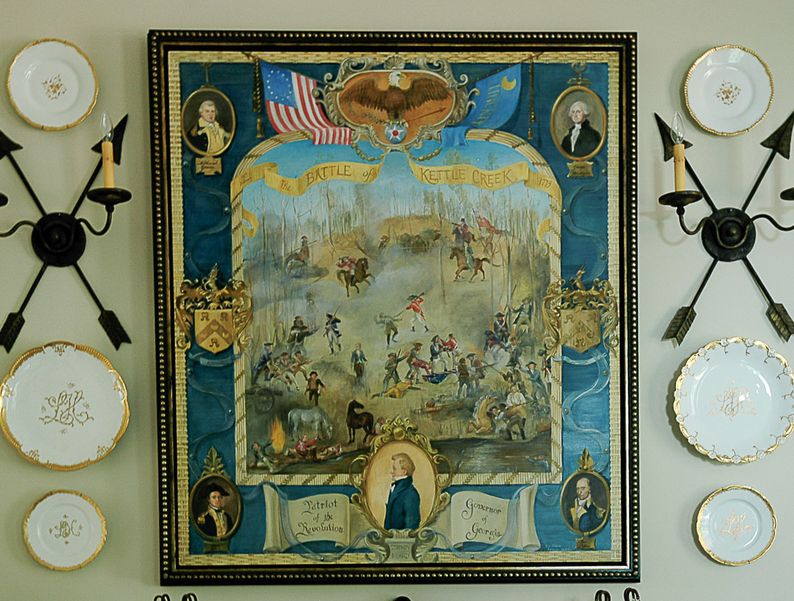 Painting hanging on the wall picturing the battle of Kettle Creek