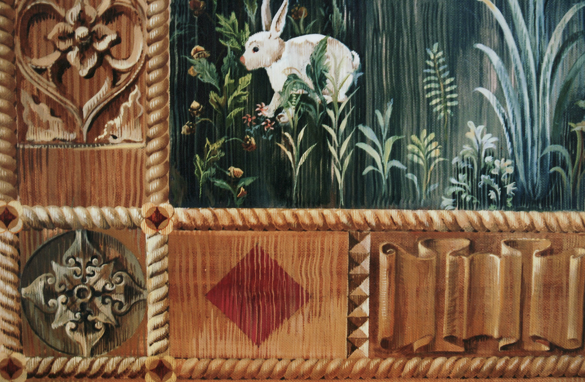 gothic mural detail of gold border and rabbit in landscape