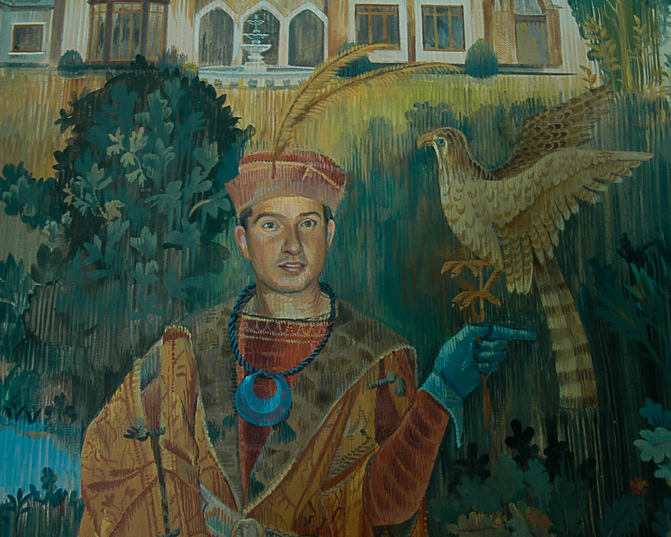 gothic tapestry detail of falconer
