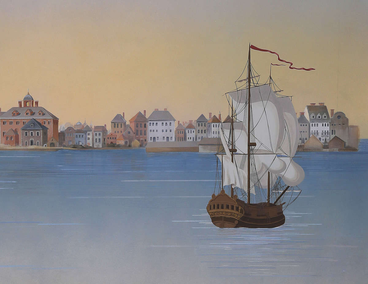 mural detail of 3-masted ship in Charleston harbor with historic buildings in the background