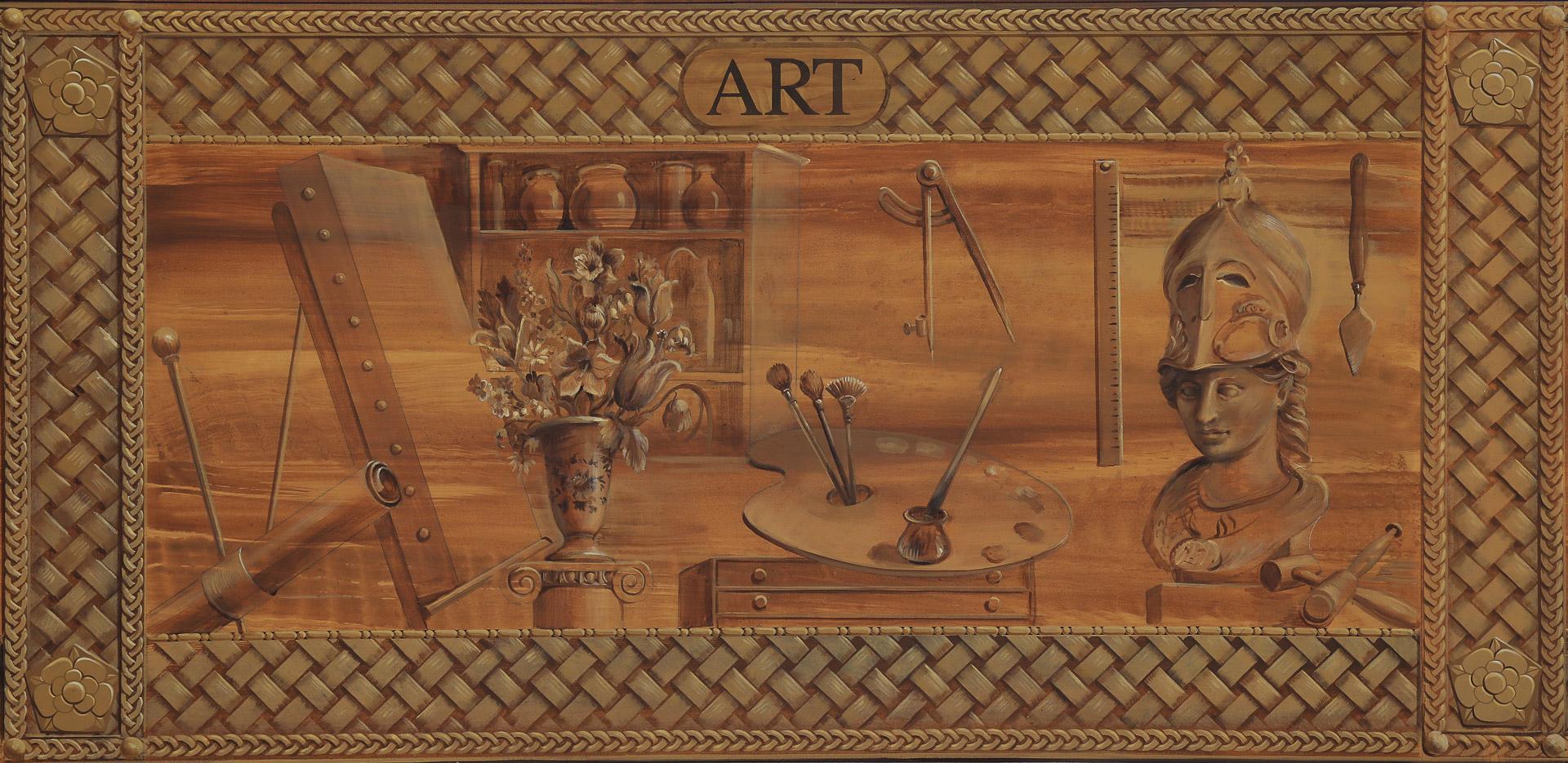 Mural detail of faux wood frieze of art supplies