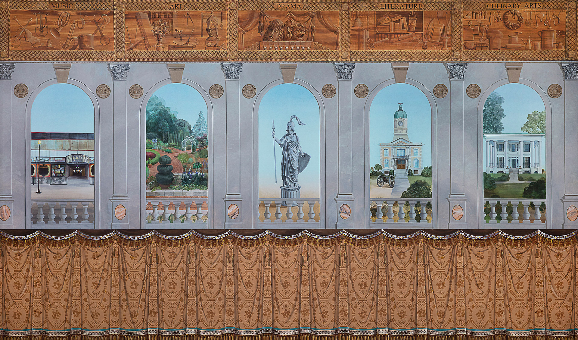 mural depicting images of vignettes of Athens, Georgia